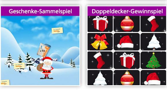 Geschenke-Sammelspiel & Doppeldecker-Gewinnspiel